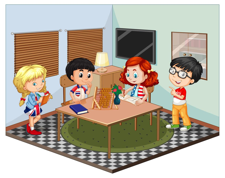 barn i vardagsrumsscenen vektor