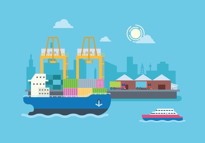 Frachtschiff bei Werft Illustration vektor