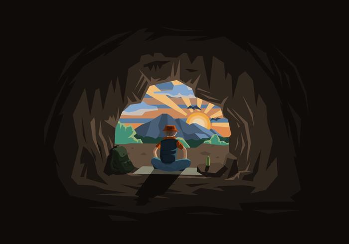 Höhle mit einem Mann und Sonnenuntergang Illustration vektor