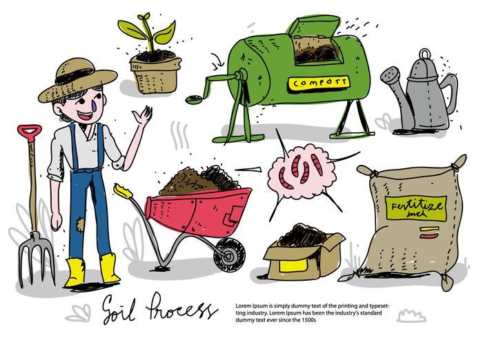 Landwirt Prozess Boden zu Kompost Hand gezeichnet Vektor-Illustration vektor