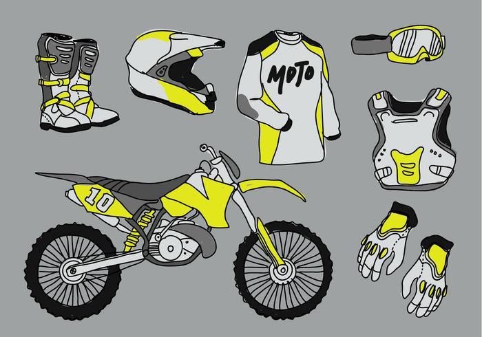 Motocross Starter Pack Doodle Vektor-Illustration vektor