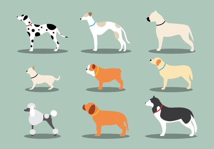 Hund ikonuppsättning vektor