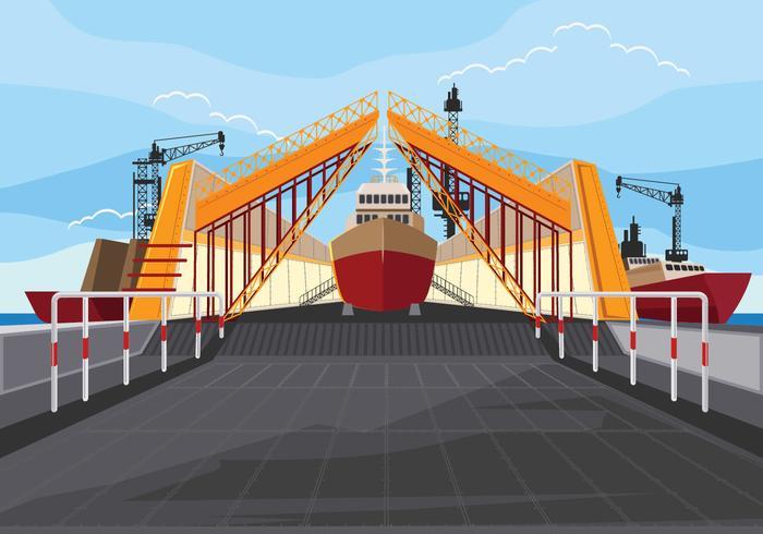 Illustration der Werft bei der Arbeit und Docking Ship vektor