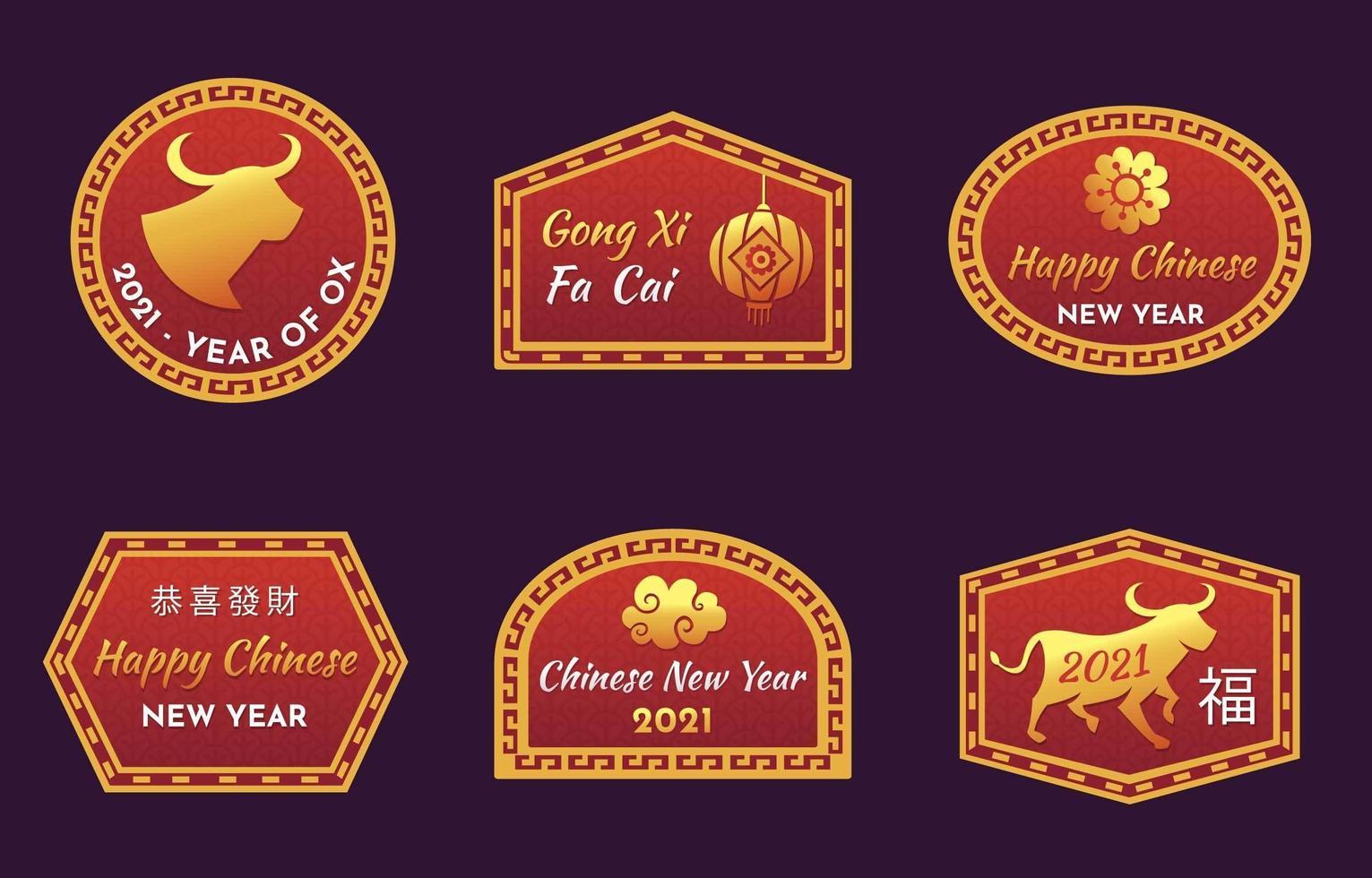 kinesiska nyåret 2021 etiketter vektor