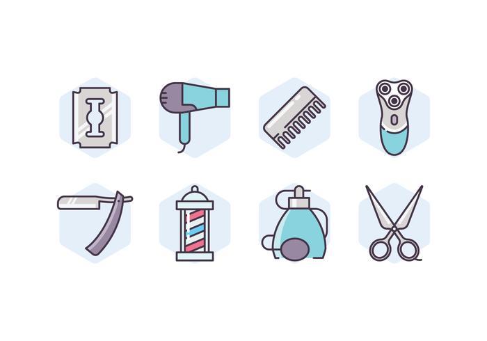 Barbershop Zubehör Icon Set vektor