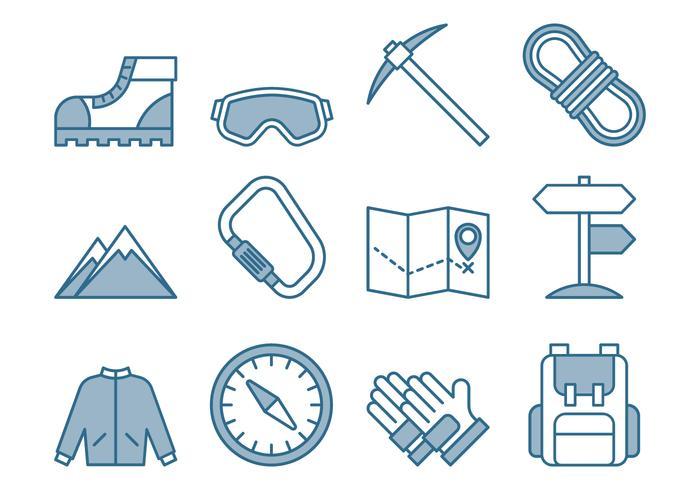 Klettern Icons Set vektor