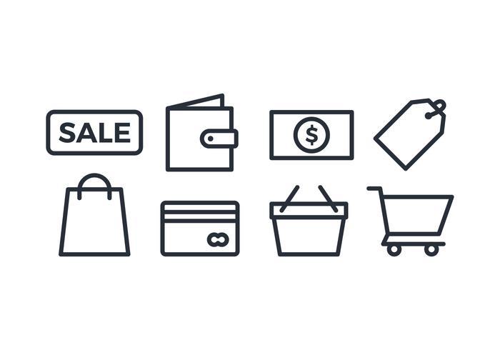 Shopping ikonuppsättning vektor
