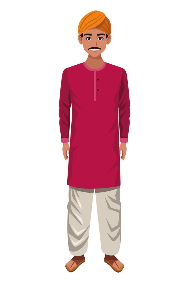 indisk man som bär traditionella hinduiska kläder vektor