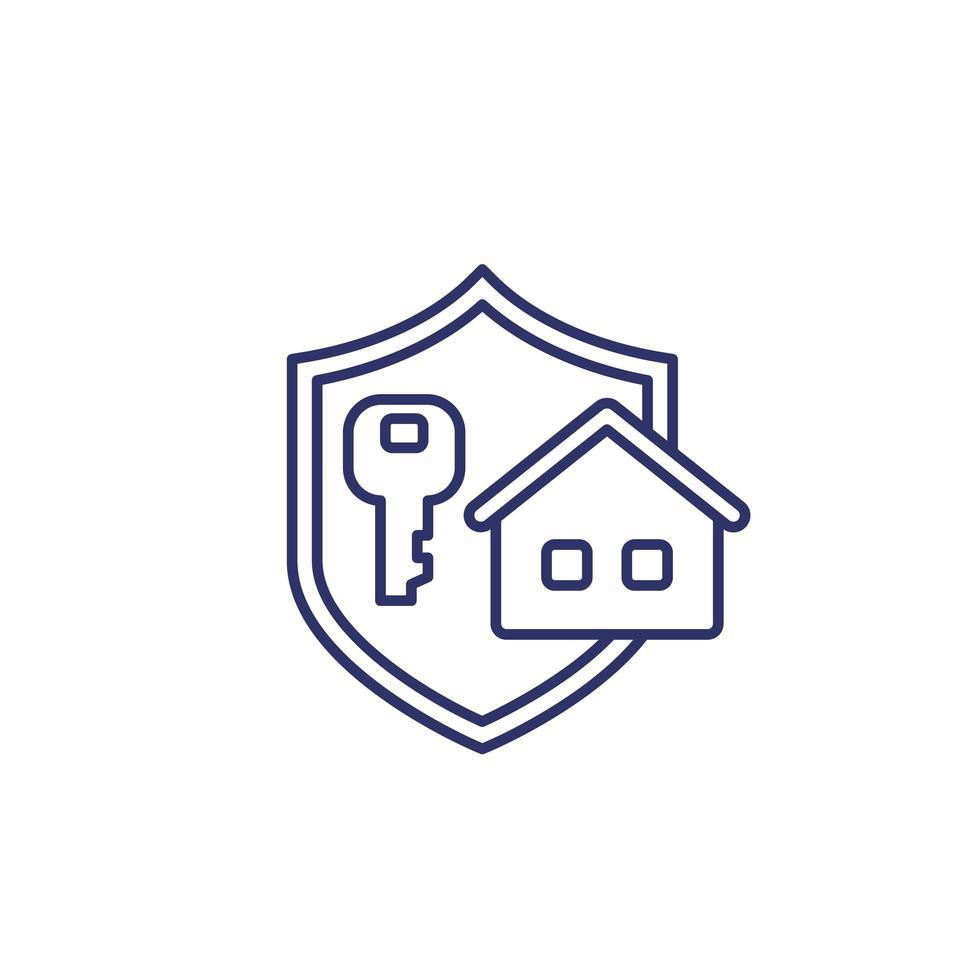 Home- und Keyline-Symbol mit Schild vektor