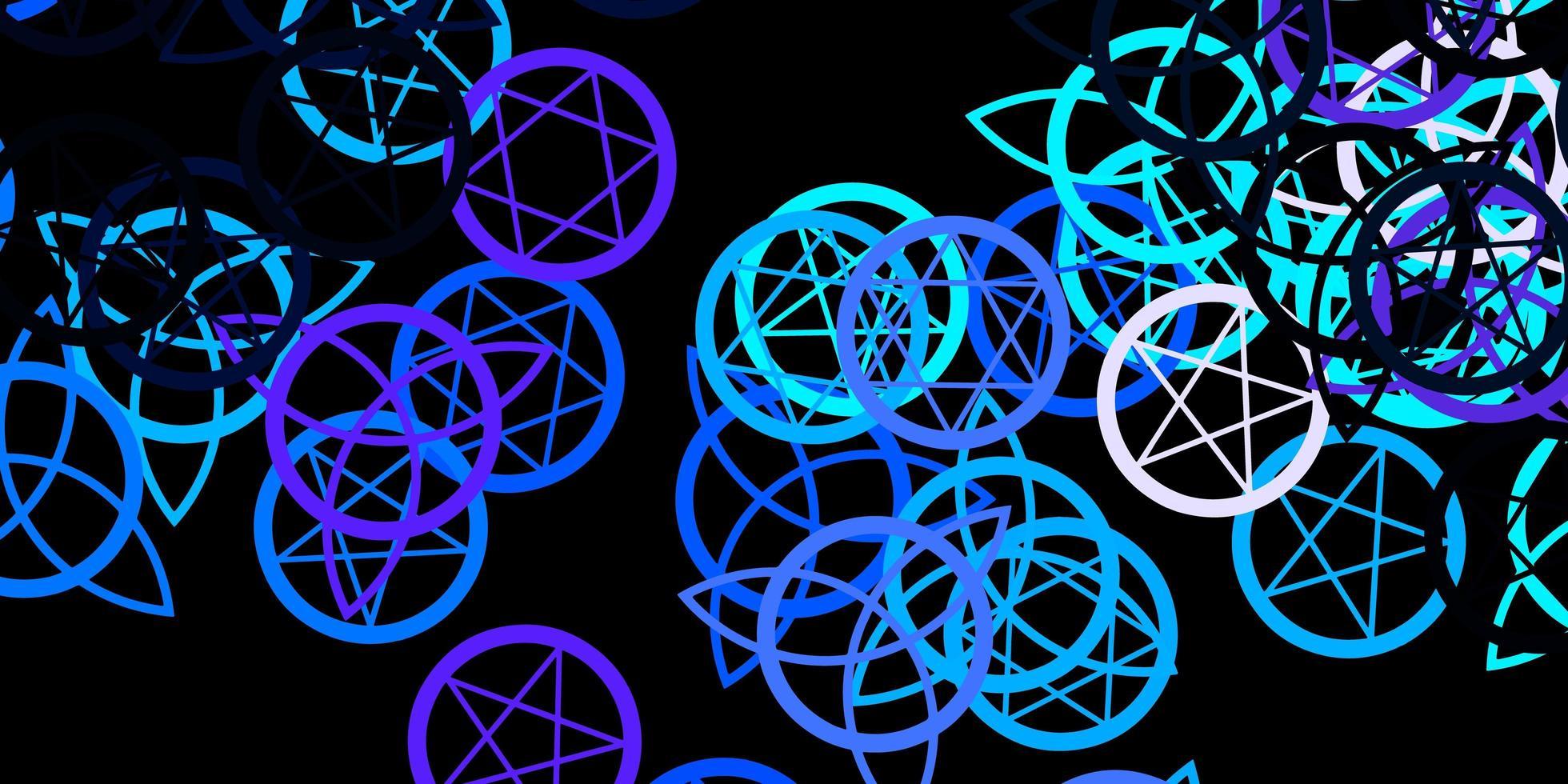 dunkelrosa, blaue Schablone mit esoterischen Zeichen vektor