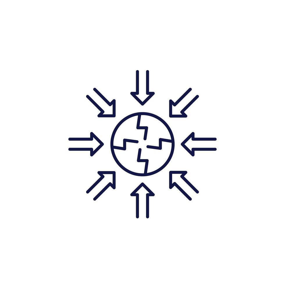ikon för negativ påverkan linje på vitt vektor