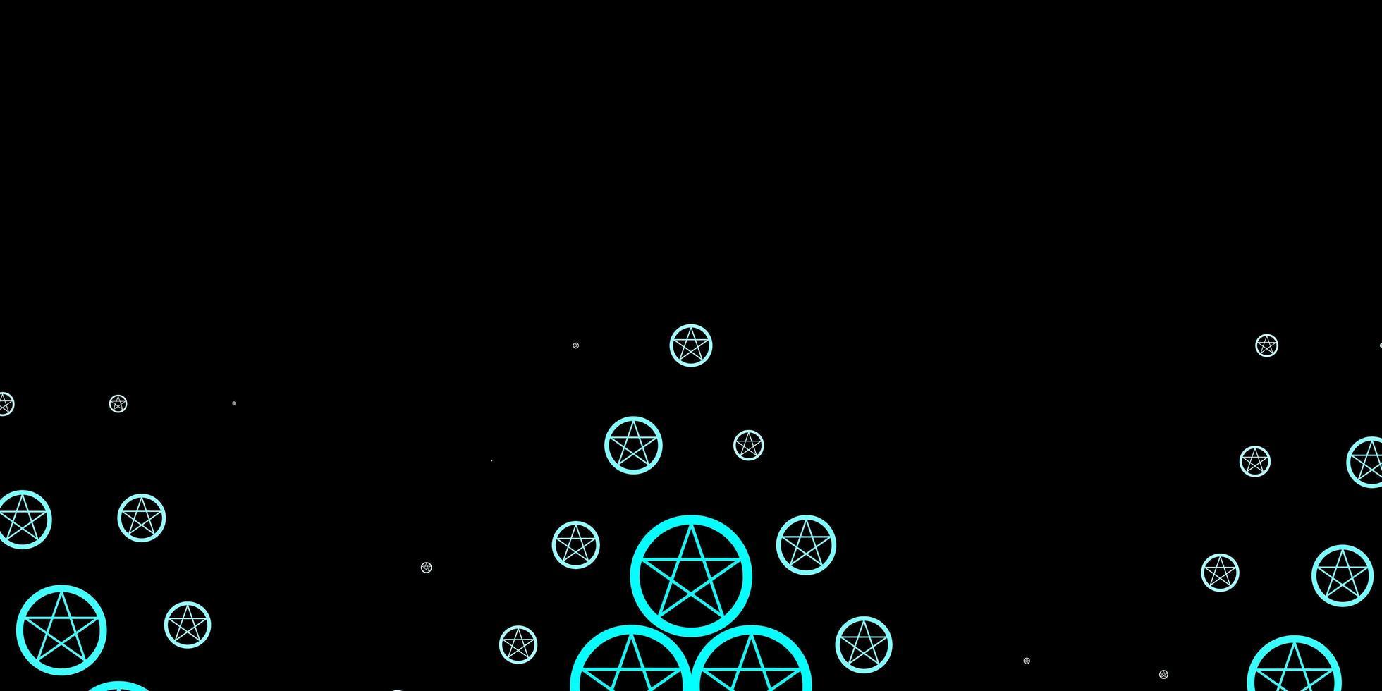 dunkelblaue Vorlage mit esoterischen Zeichen vektor