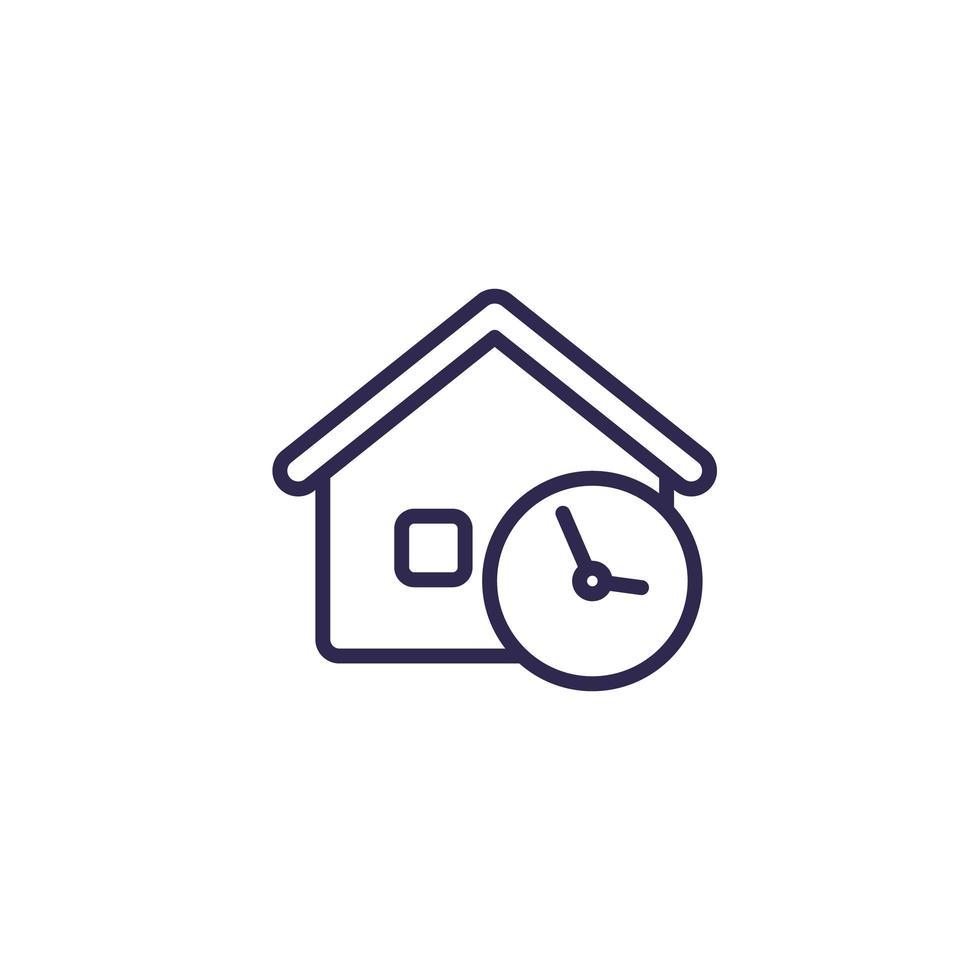hus och tid linje ikon vektor