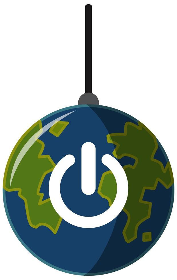 Earth Hour-kampanjlogotyp eller -ikon stänger av lamporna för vår planet 60 minuter vektor