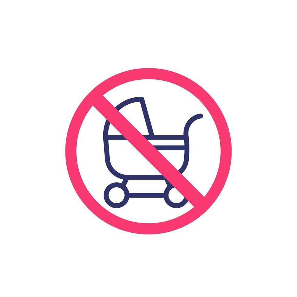 ingen barnvagn, barnvagn ikon vektor