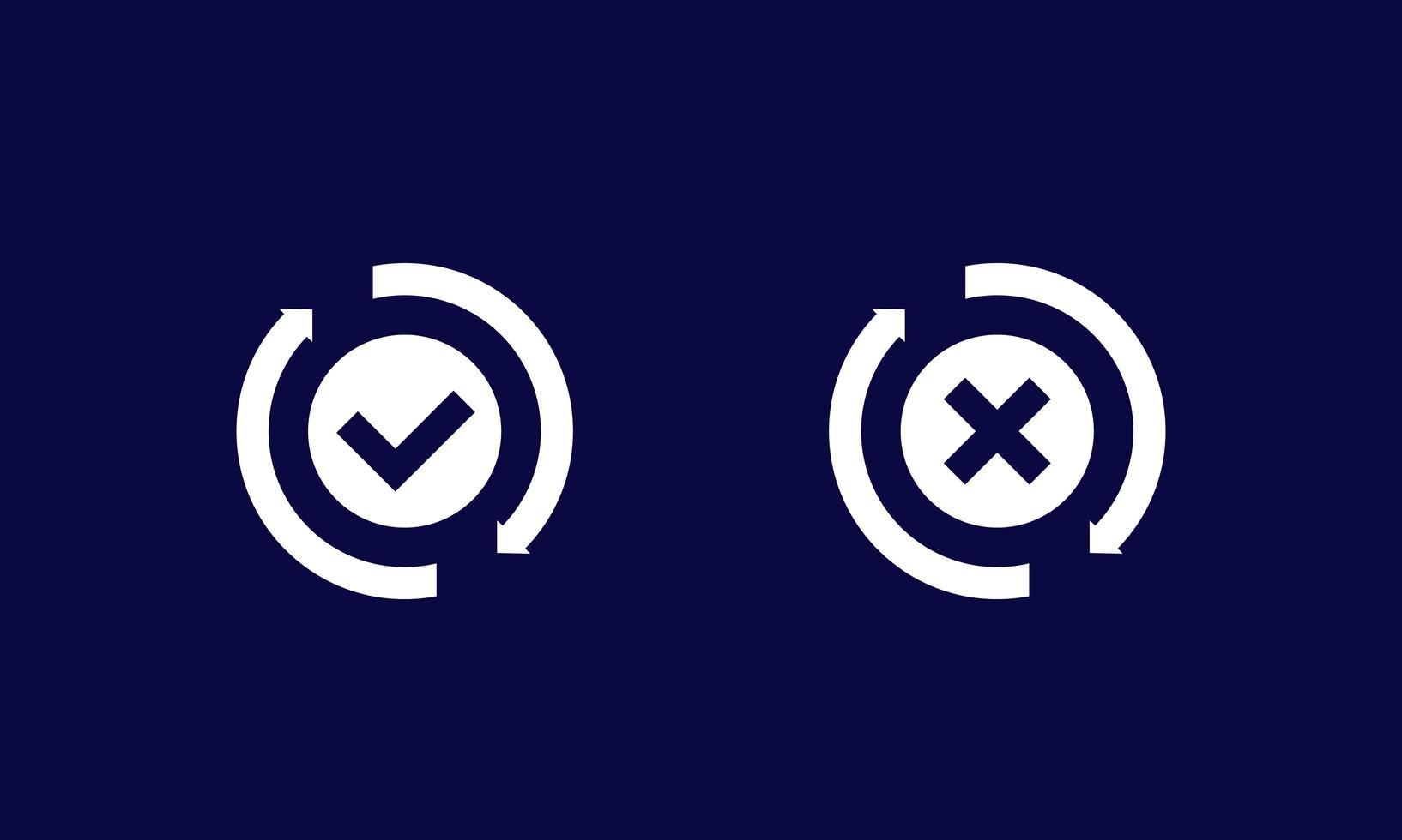 utbyte, konvertering slutförd eller misslyckad ikon vektor