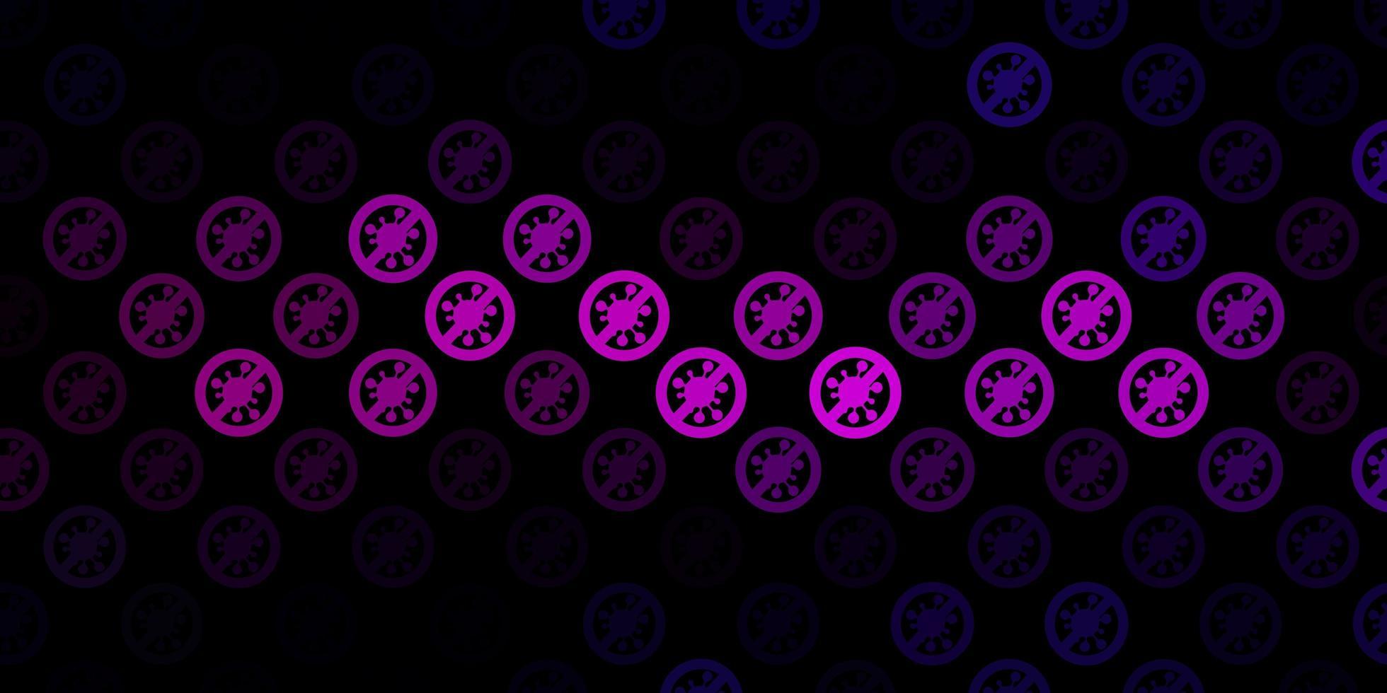 mörkrosa bakgrund med covid-19 symboler. vektor