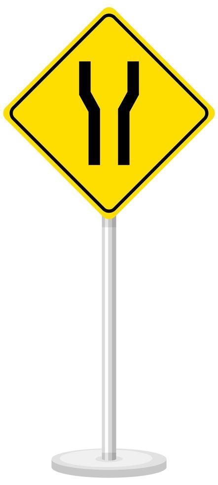 gelbes Verkehrswarnschild auf weißem Hintergrund vektor