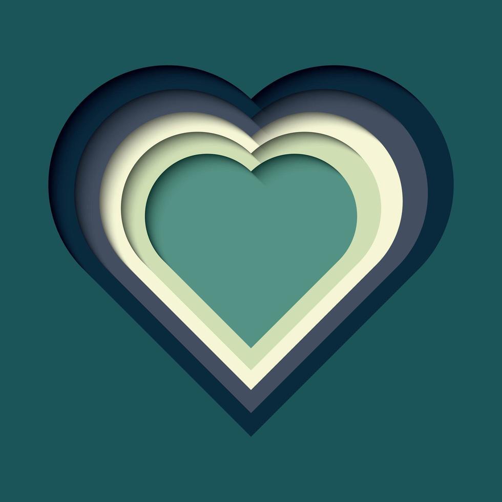 papper klippt ut bakgrund, färgglad hjärta form vektor