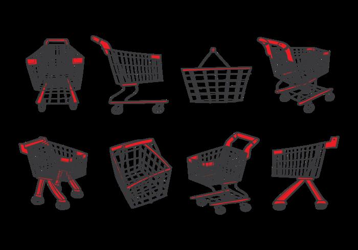 Supermarkt Cart Save Icons Vektor