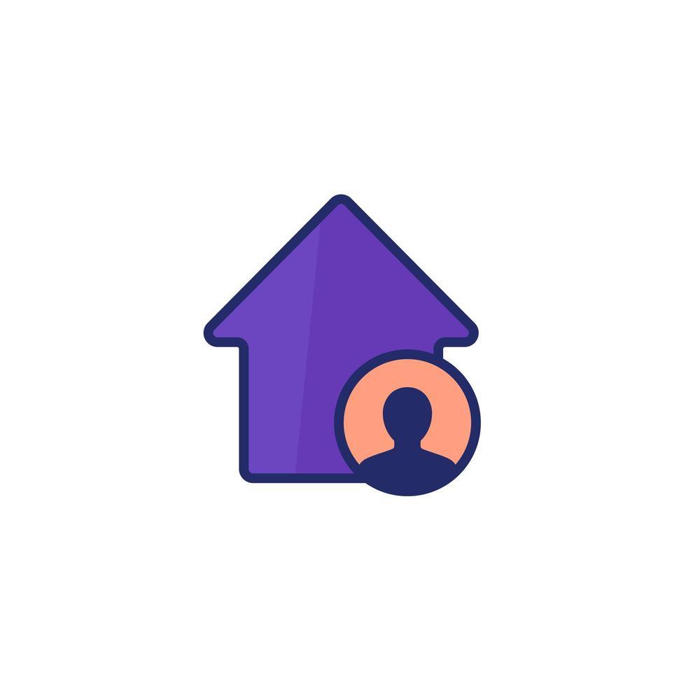 hyresgäst, husboende ikon på vitt vektor