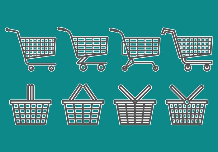 Supermarkt Cart Save Icons Set vektor