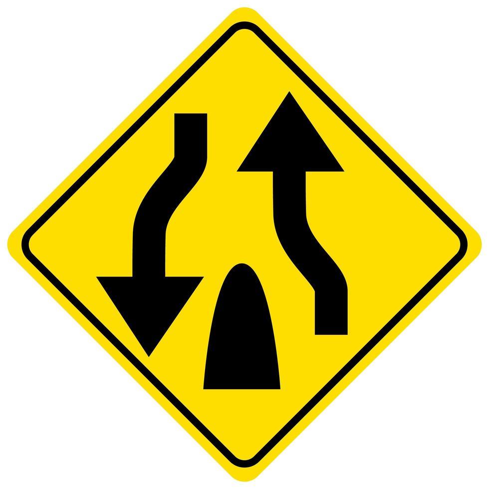 Warnschild für das Ende einer geteilten Straße auf weißem Hintergrund vektor