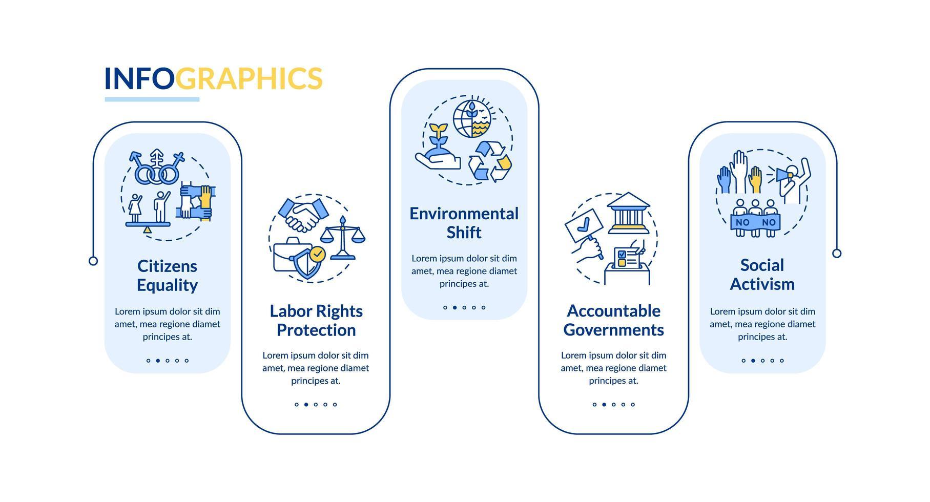 Infografik-Vorlage für Werte des sozialen Wandels vektor