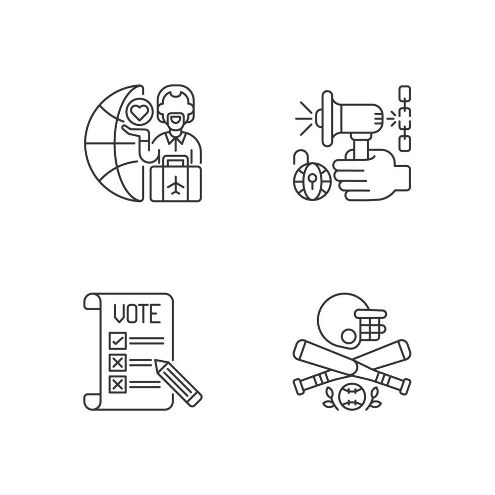 USA linjära ikoner set. vektor