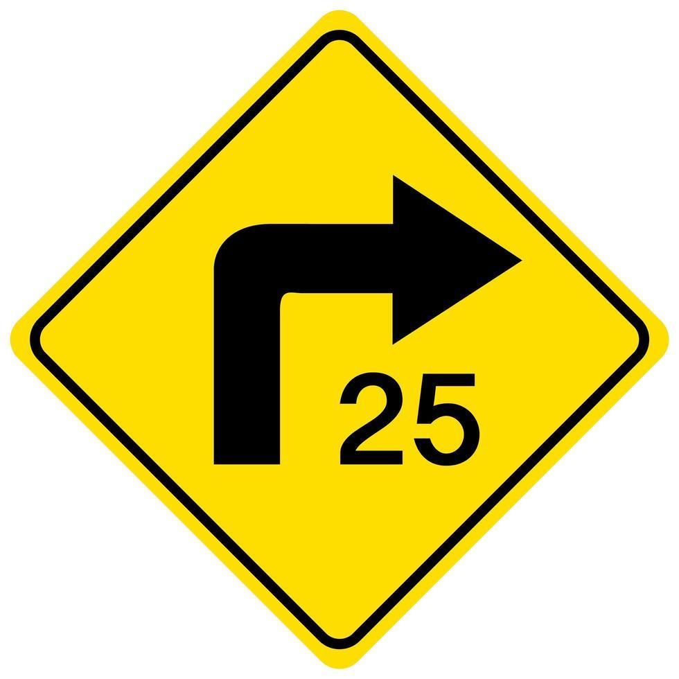 Hinweis drehen Geschwindigkeit gelbes Zeichen auf weißem Hintergrund vektor