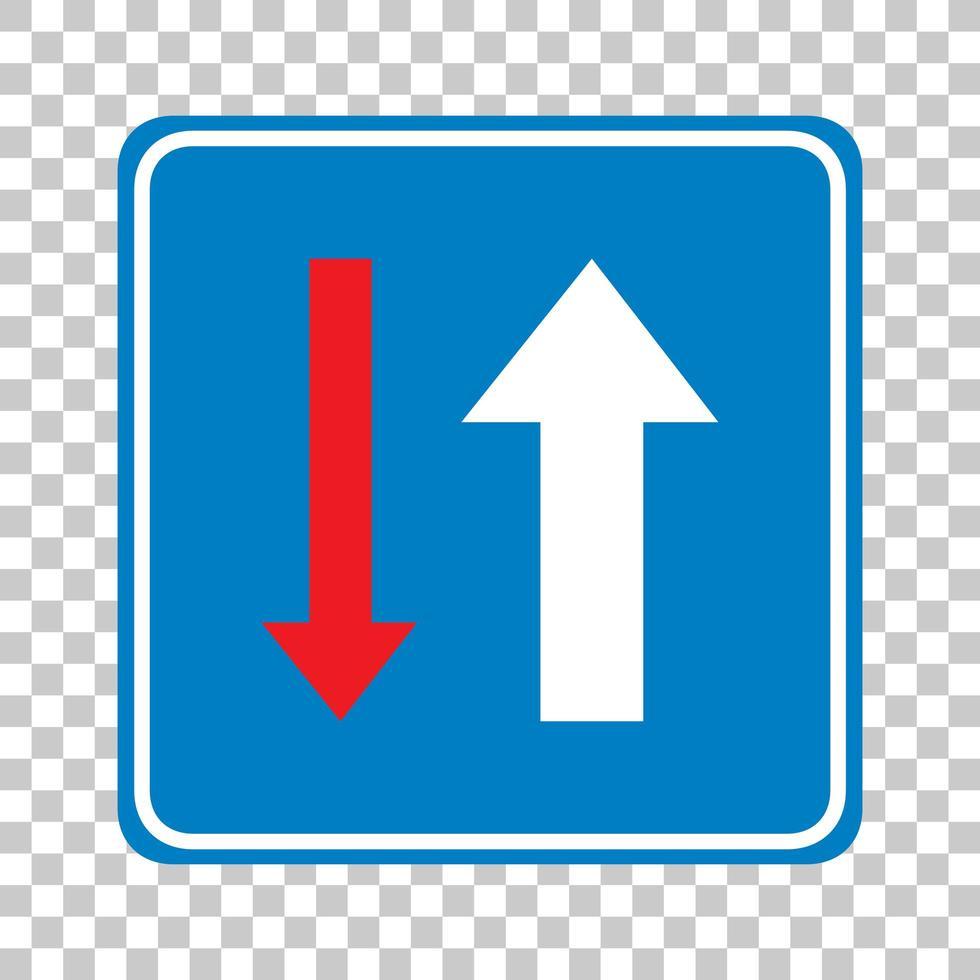 Vorrang vor entgegenkommenden Fahrzeugen Zeichen auf transparentem Hintergrund isoliert vektor
