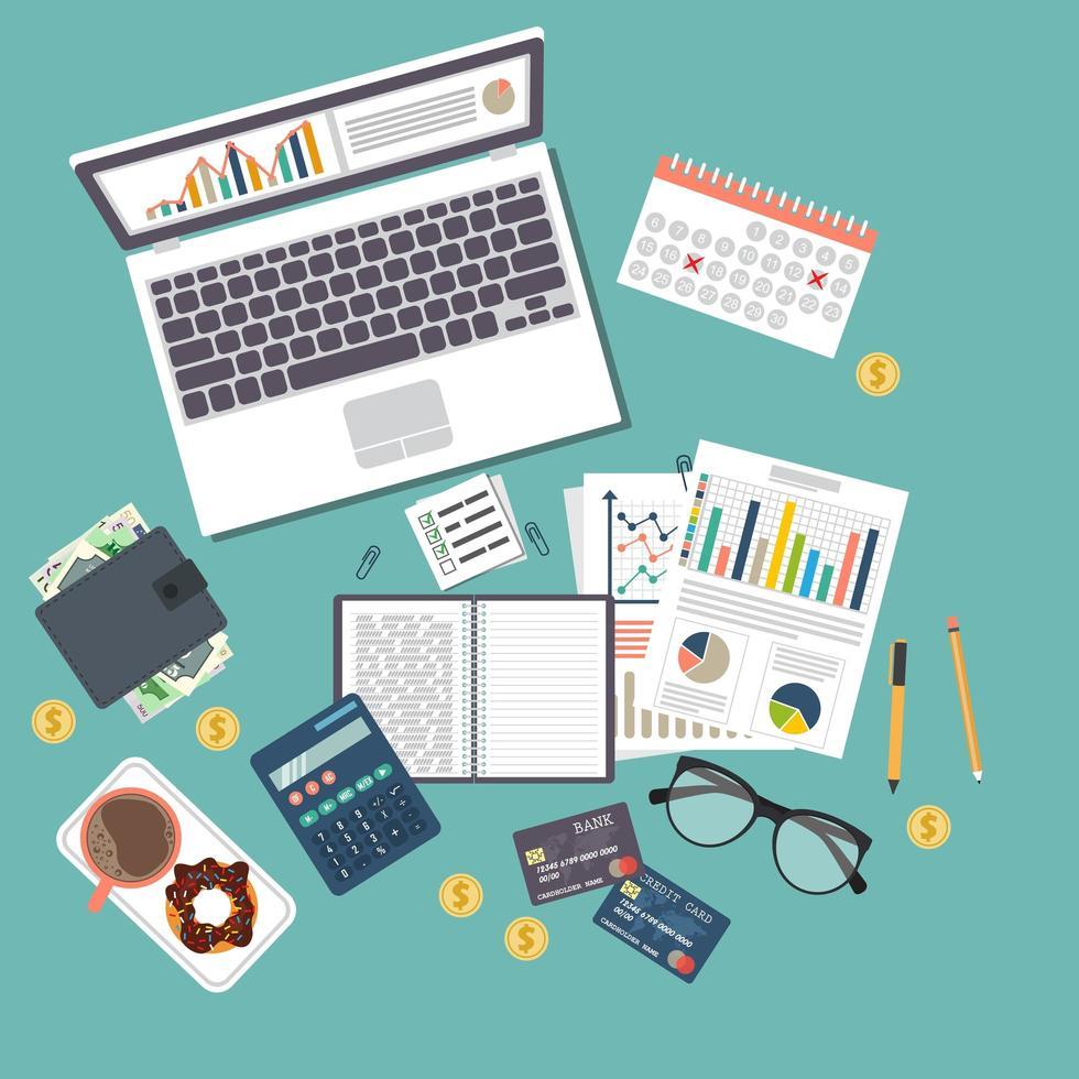 granskningskonceptbakgrund med kontorsobjekt vektor