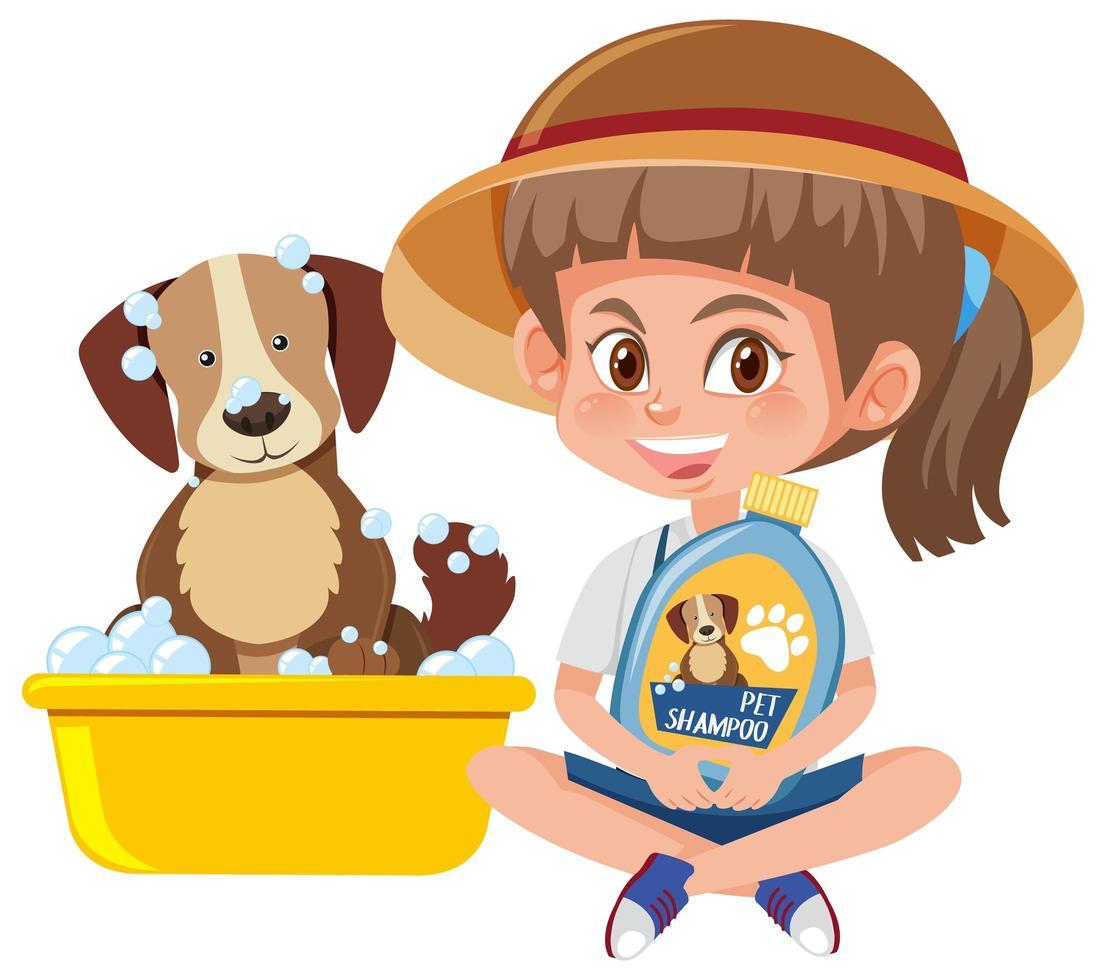 Mädchen, das Hundeshampooprodukt mit niedlichem Hund auf weißem Hintergrund hält vektor