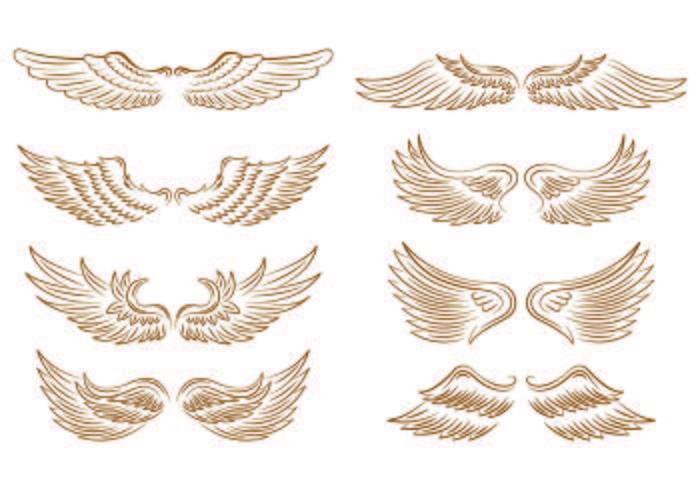 Set Engel Wings Icons vektor