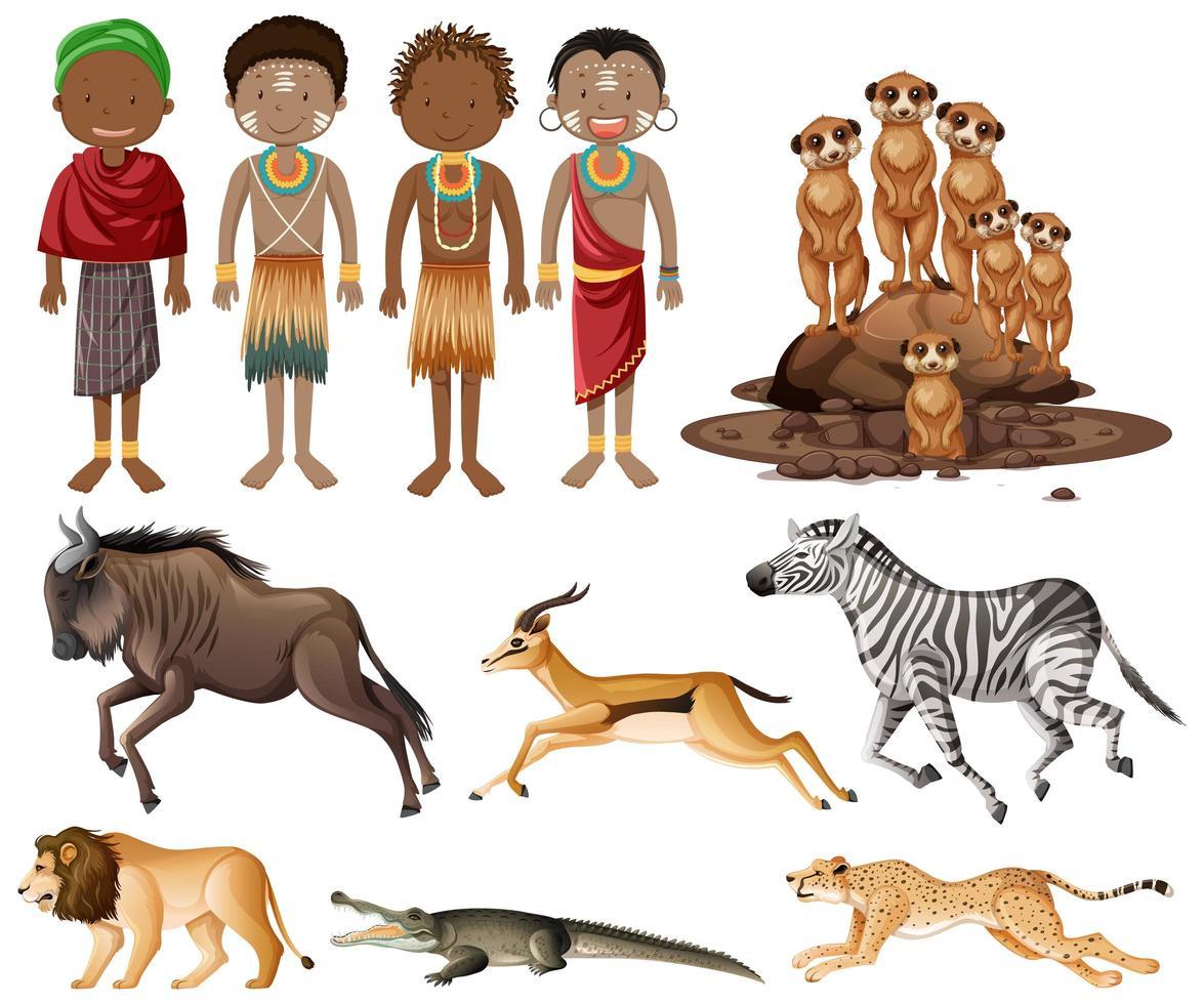 uppsättning människor av afrikanska stammar och vilda djur vektor