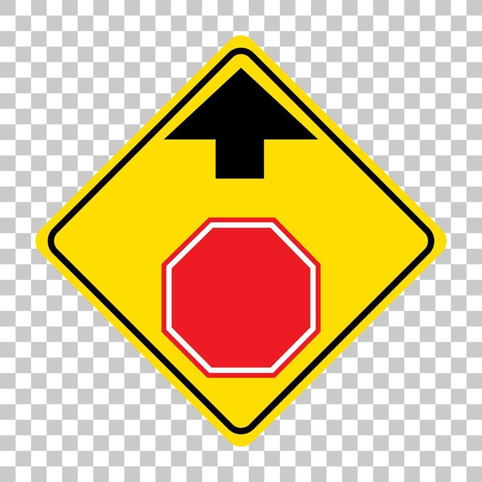 gelbes Verkehrswarnschild auf transparentem Hintergrund vektor