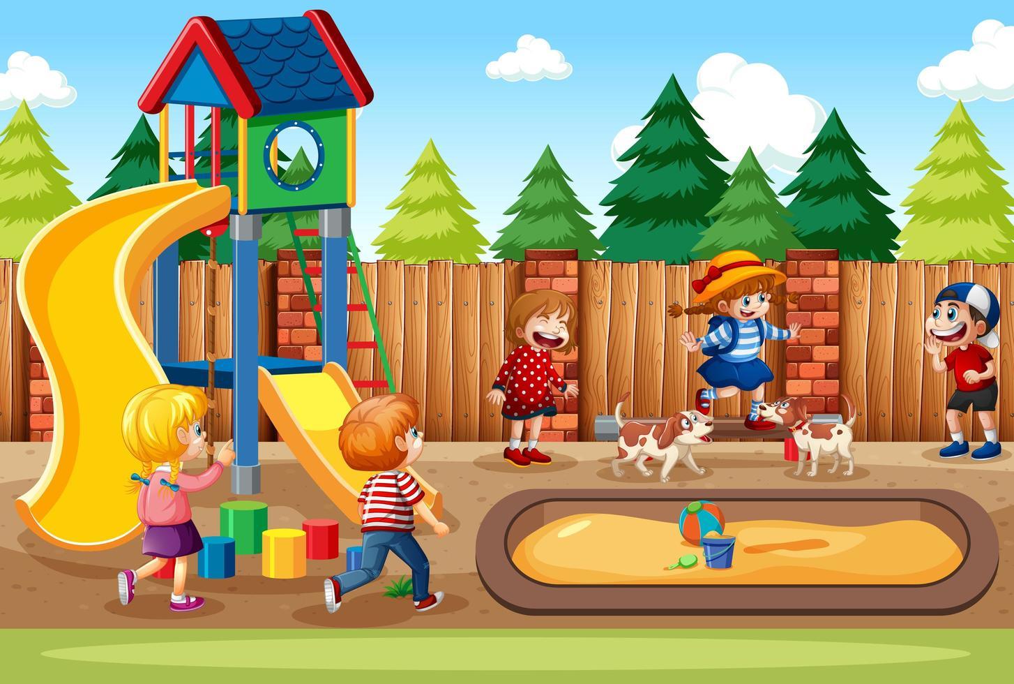 Kinder spielen in der Spielplatzszene vektor