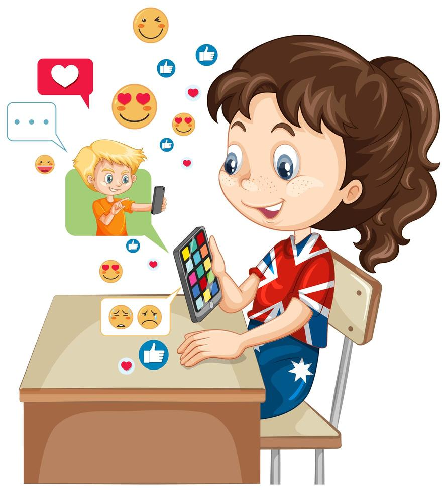 barn med sociala medier på vit bakgrund vektor