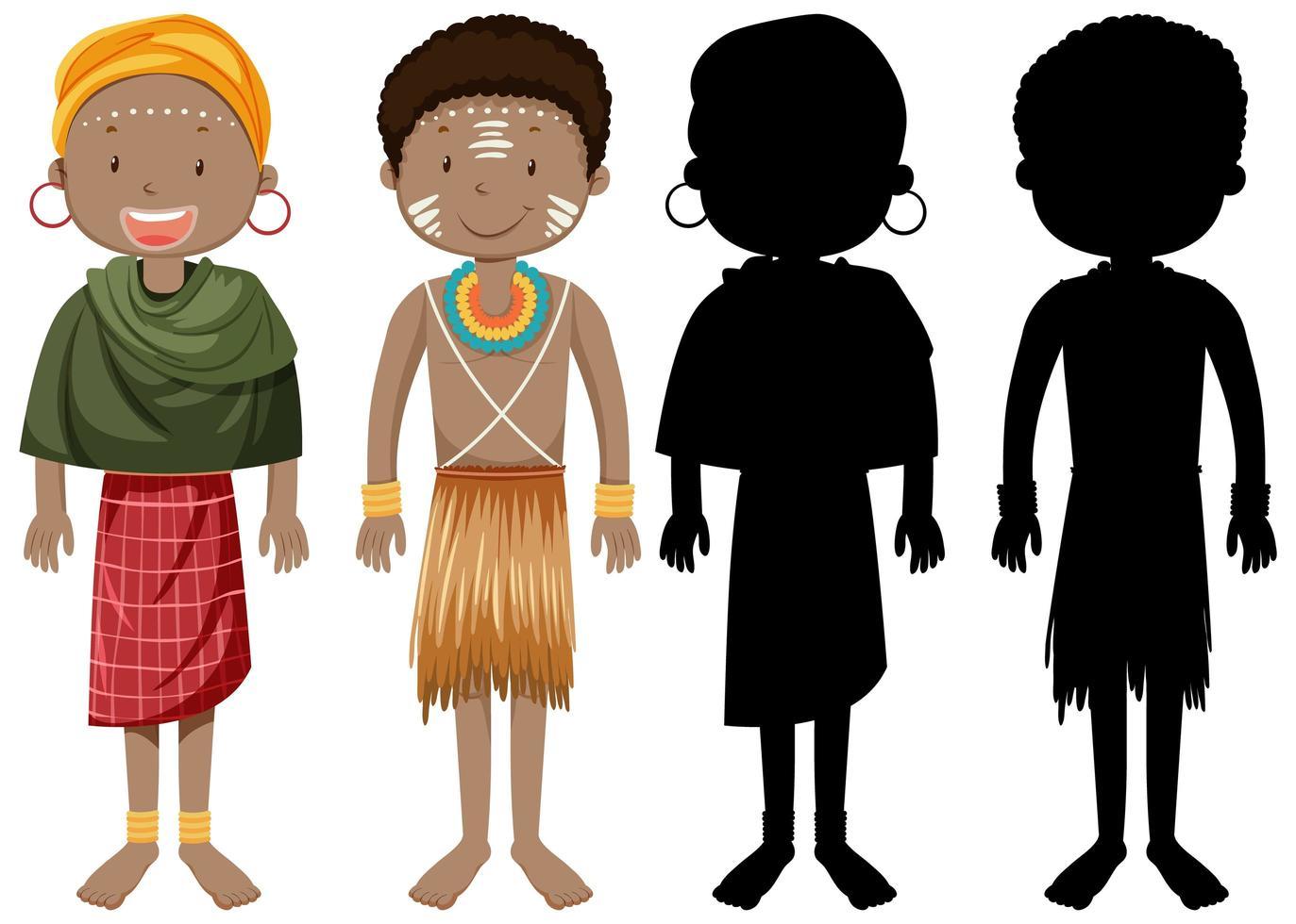 uppsättning människor av afrikanska stammar karaktär med sin silhuett vektor