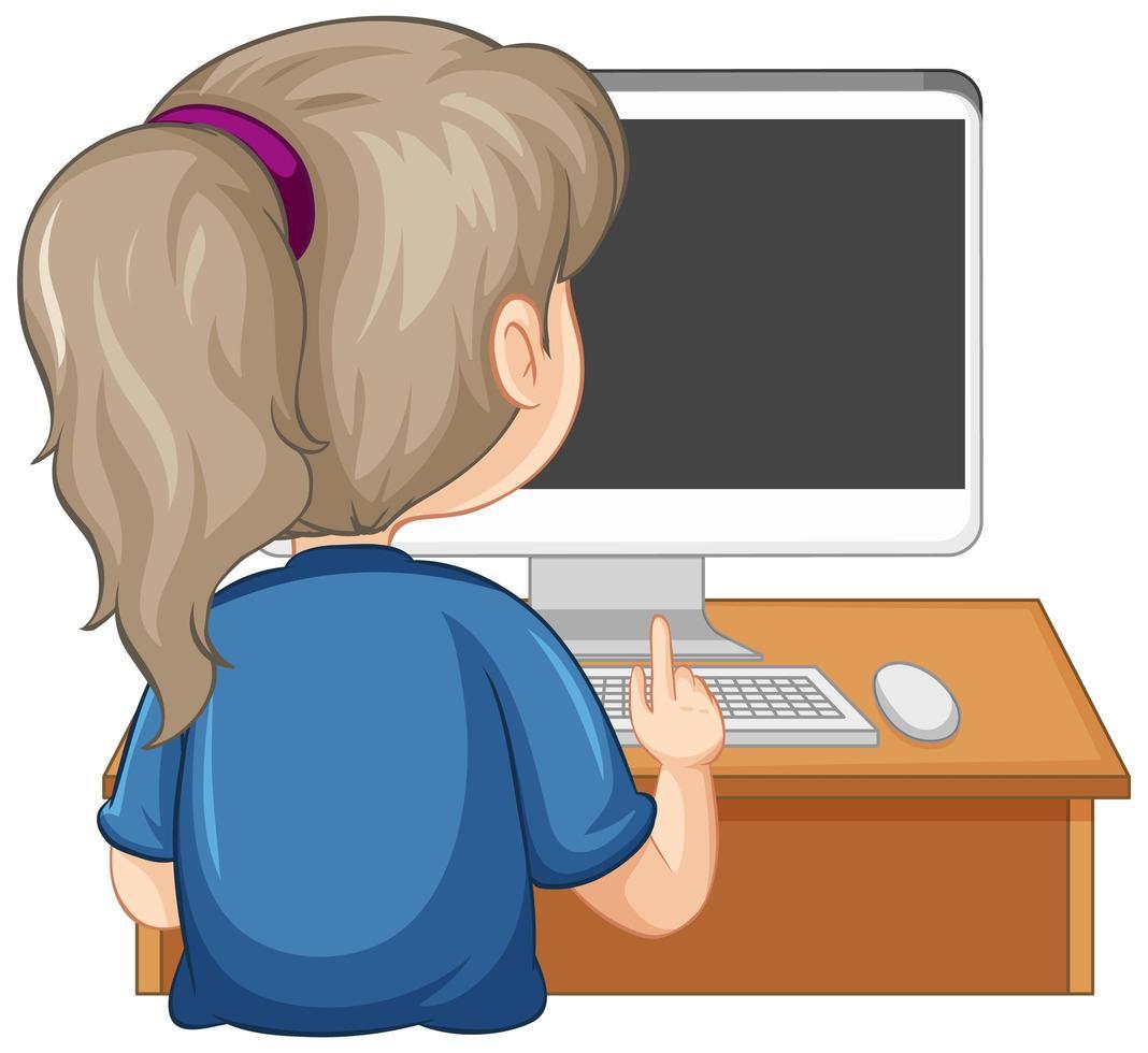 Rückansicht eines Mädchens mit Computer auf dem Tisch auf weißem Hintergrund vektor