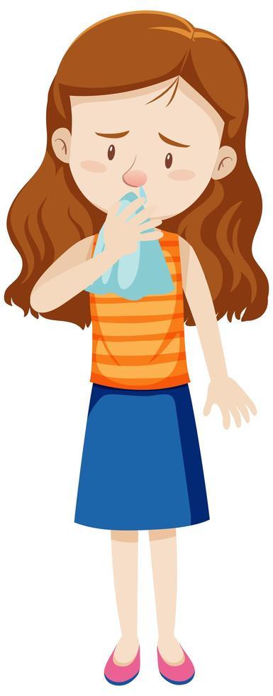 en kvinna med rinnande näsa vektor