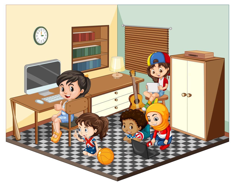 Kinder in der Wohnzimmerszene auf weißem Hintergrund vektor