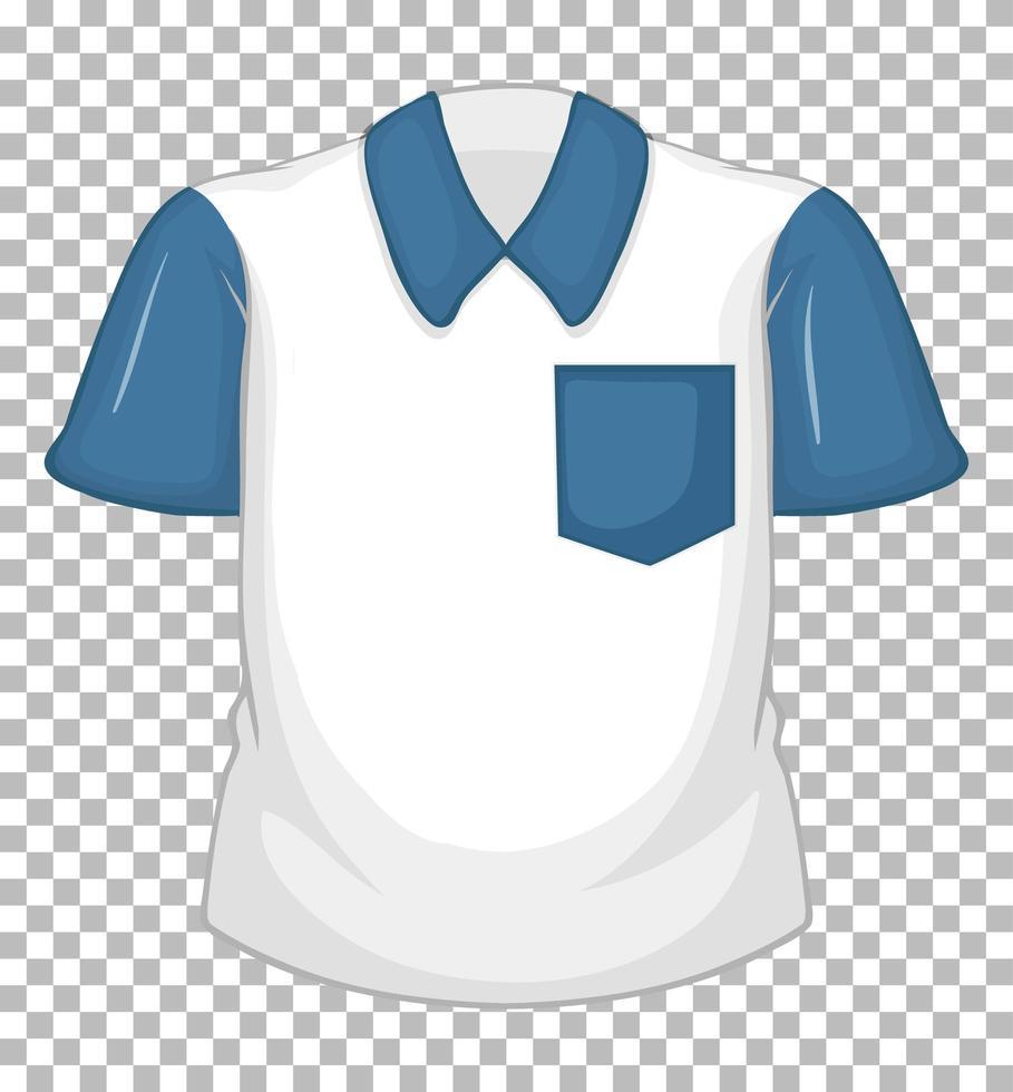 tom vit skjorta med blå korta ärmar isolerad på transparent bakgrund vektor