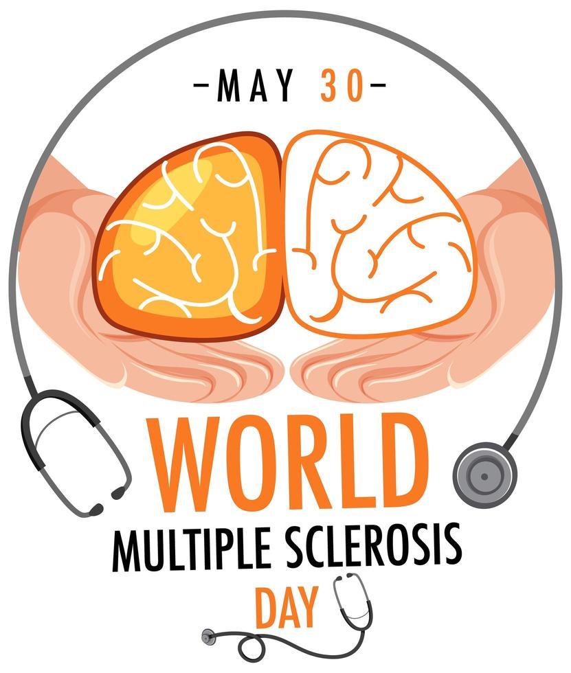 världs-multipel skleros-dagslogotyp eller -banderoll vektor