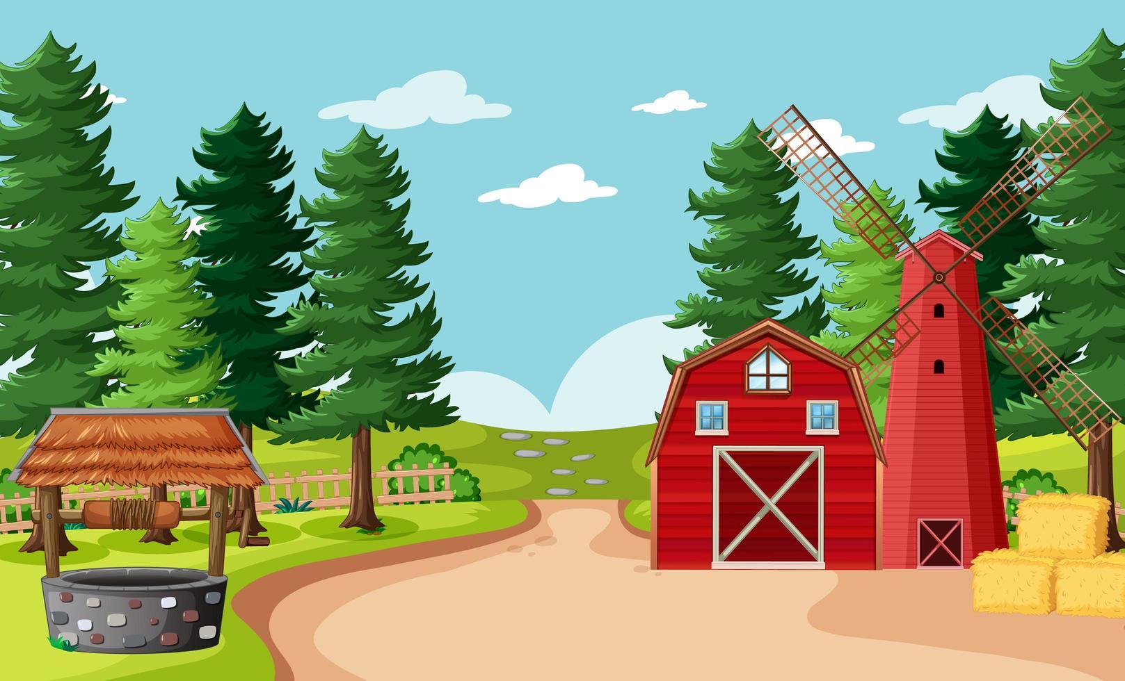 tom gårdsplats i tecknad stil vektor
