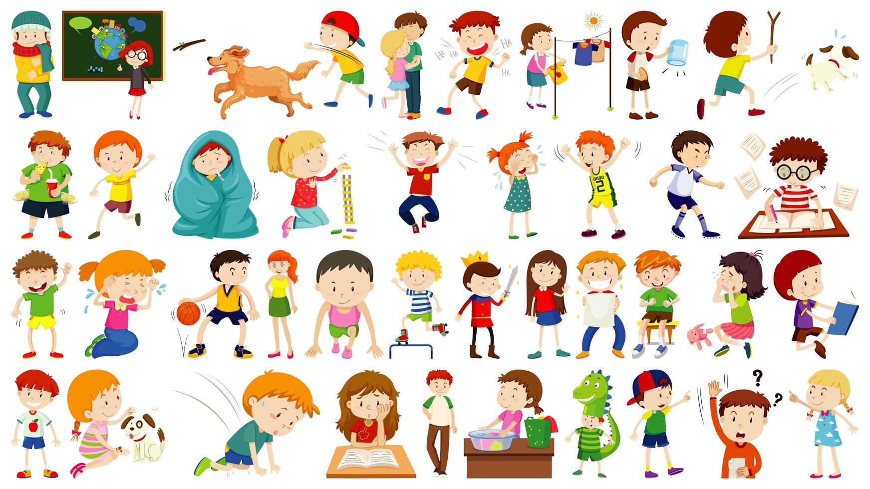 uppsättning söta barn seriefigur vektor