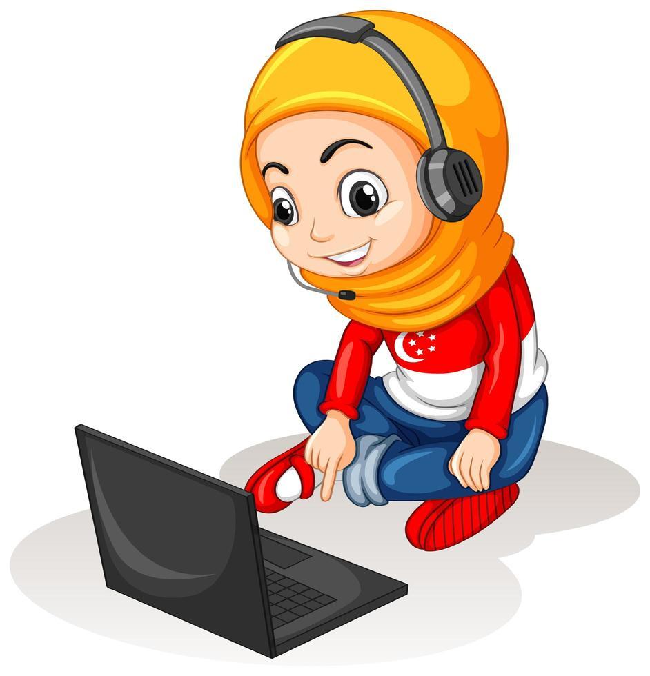 en muslimsk flicka med bärbar dator på vit bakgrund vektor