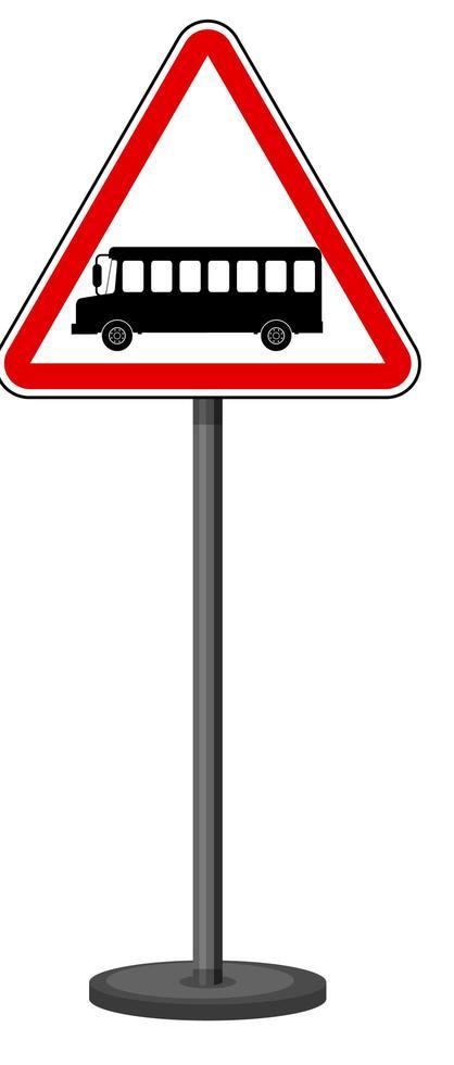 Buszeichen mit Ständer lokalisiert auf weißem Hintergrund vektor