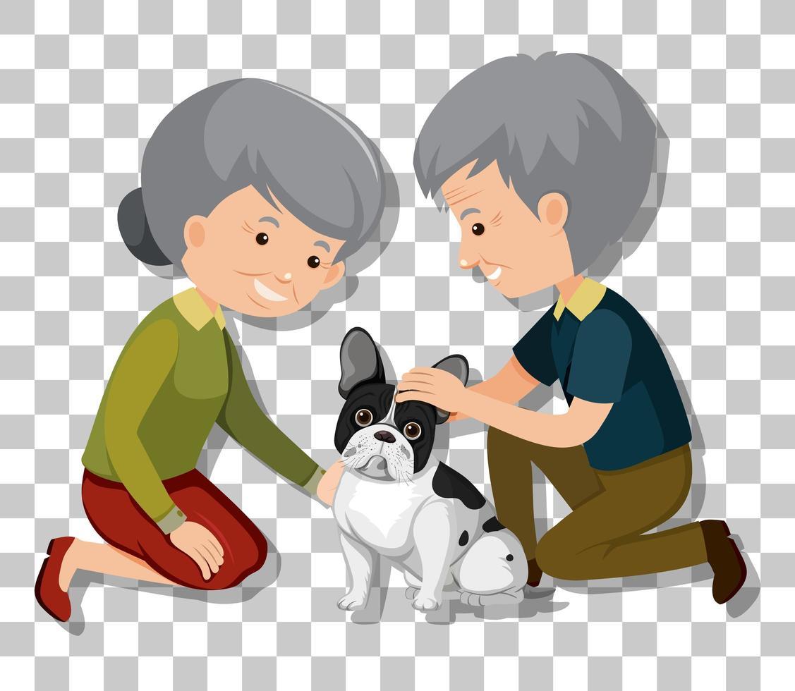 altes Paar mit ihren Haustierhunden lokalisiert auf transparentem Hintergrund vektor