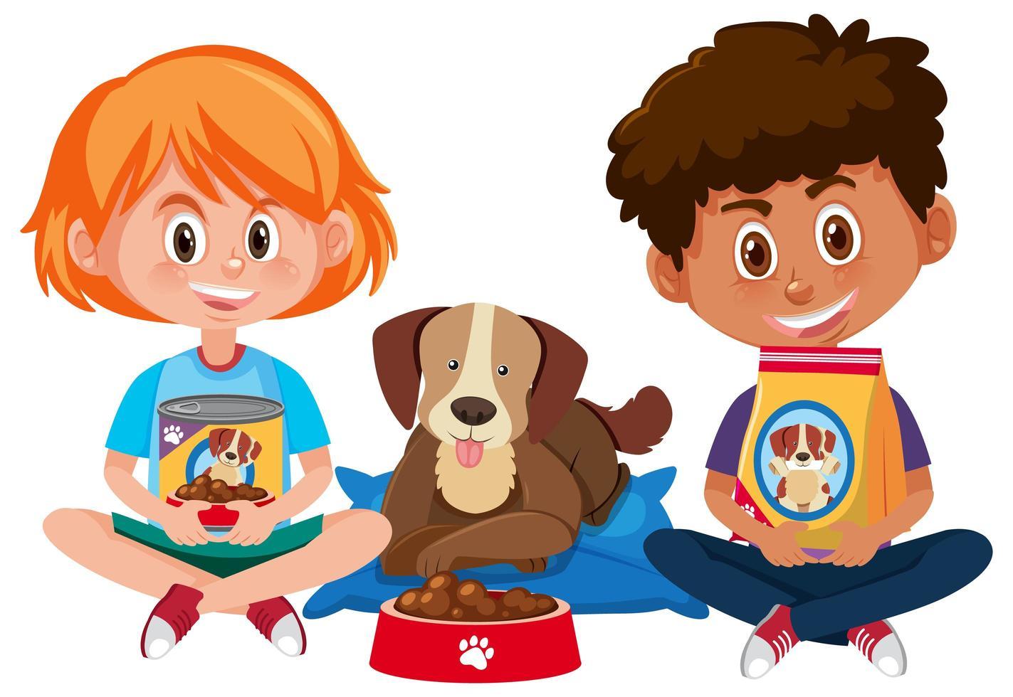Jungen und Mädchen, die Hundefutter mit niedlichem Hund auf weißem Hintergrund halten vektor